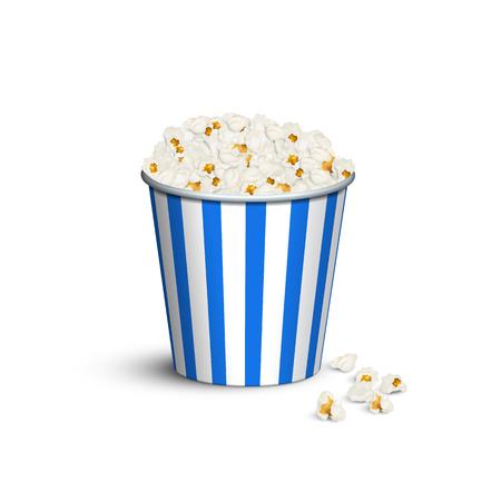 Blue striped popcorn bucket. Vector popcorn box.
