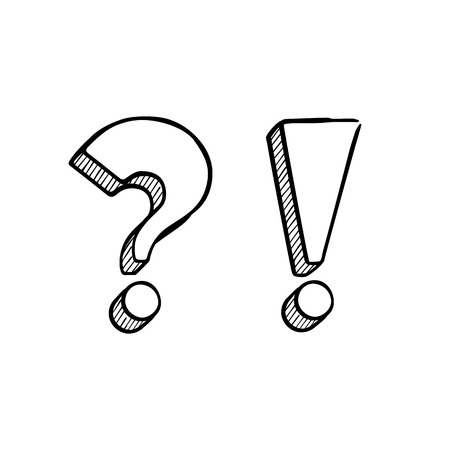 Vector hand-drawn question and exclamation marks isolated on white.