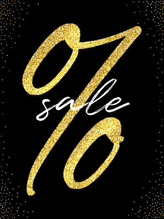 Sale flyer template. Vector golden percent sign and white Sale word on black background with golden glitter. Ilustração