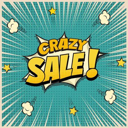 Crazy Sale word on pop art or comic book background. Vector illustration. Stock Illustratie