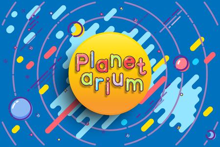 Planetarium advertising template. Vector sun with Planetarium word on blue space background. Illustration