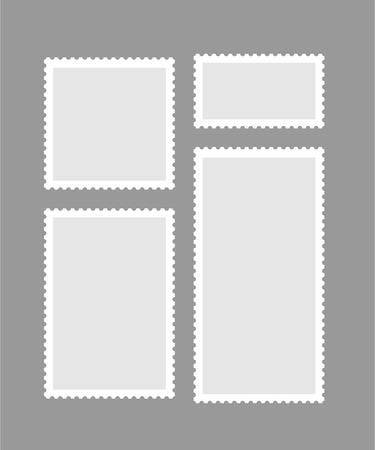 Blank different proportion postmark set on gray background. Vector illustration. Ilustrace