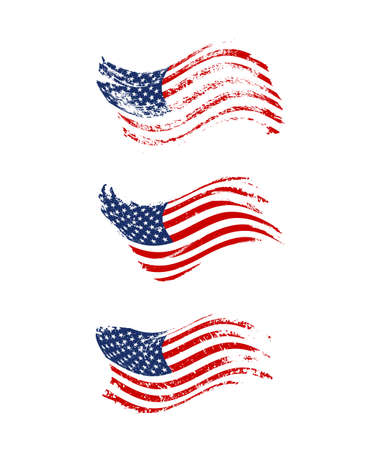 Vintage waving USA flag set. Vector waving American flags on grunge texture. Ilustração