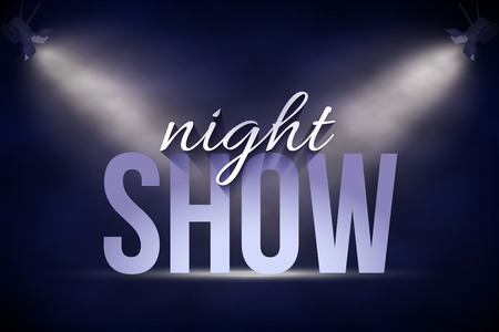 Announcement banner template. Vector Night Show text on stage background under blue spot lights.