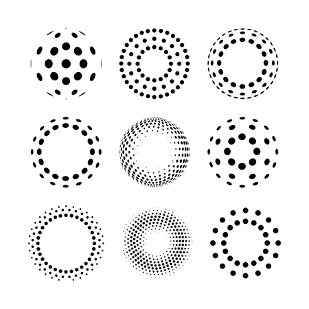 Circle halftone logo icons. Abstract design elements.