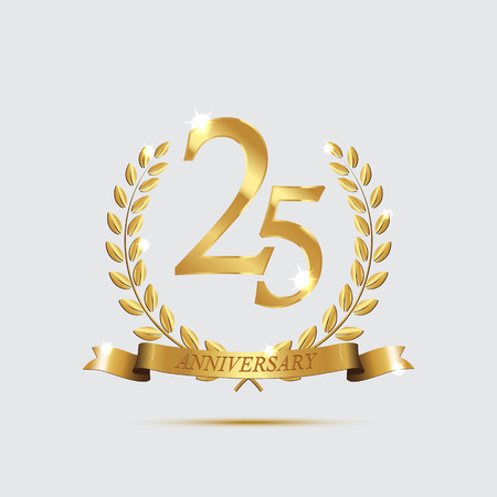Golden laurel wreaths with ribbons and twenty fifth anniversary year symbol on light background. 25 anniversary golden symbol. Vector anniversary design element