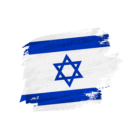 Vector brush painted Israel flag. Hand drawn style flag of Israel. 일러스트