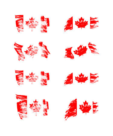 Vintage Canadian flag set. Vector flags of Canada on grunge textures. Çizim