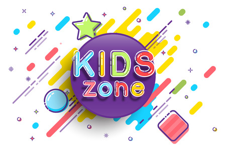 Kids Zone banner template. Vector colorfull illustration. Stock Photo