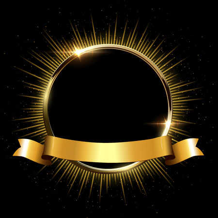 Golden sparkling ring with rays and glitter and golden ribbon isolated on black background. Vector golden frame.