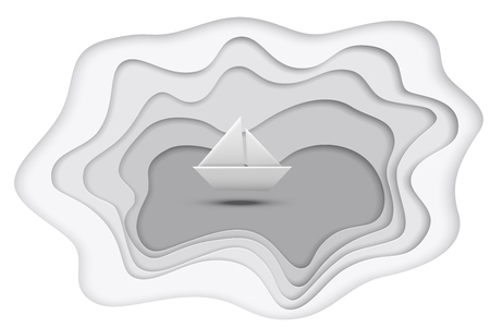 Gray paper cut lake and paper ship isolated on white background. Vector illustration.