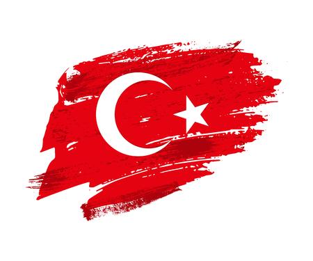 Vintage Turkish flag illustration. Vector Turkish flag on grunge texture.