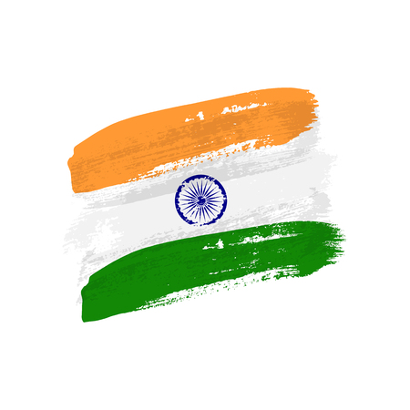 Vintage Indian flag illustration. Vector flag of Republic of India on grunge texture. Vectores