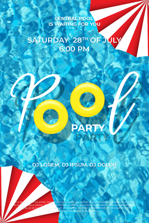 Pool party announcement template. Vector swimming rings, umbrellas and Pool Party text on pool water background.