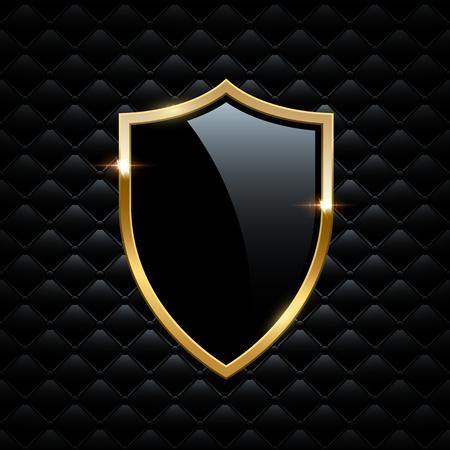 Scudo nero con cornice dorata isolato su sfondo VIP. Elemento di design di lusso di vettore. Vettoriali