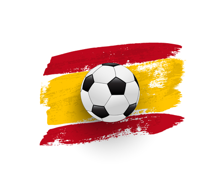 Realistic soccer ball on flag of Spain made of brush strokes. Vector design element.