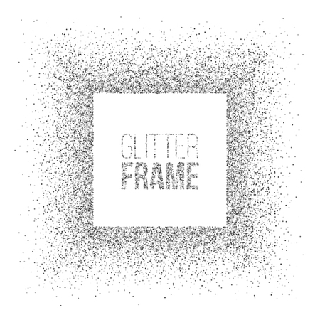 Vector square frame made of silver glitter isolated on white background.
