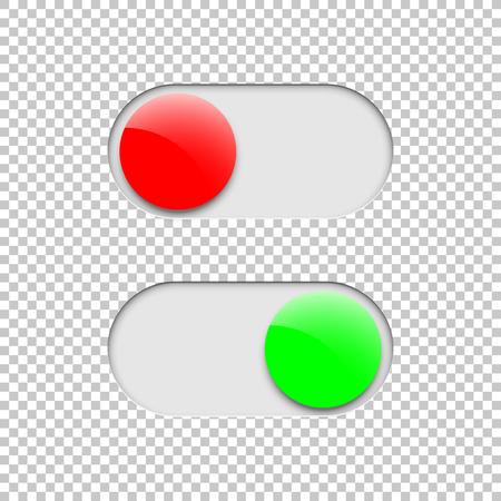 Verde On e rosso Off interruttore a levetta pulsanti isolati su sfondo trasparente. Elemento di disegno vettoriale