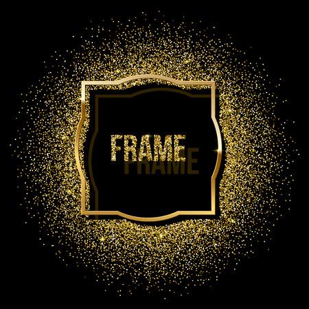 Golden frame with golden glitter isolated on black background. Vector design element Zdjęcie Seryjne - 112177384