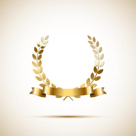Golden laurel wreath with golden ribbon. Vector luxury design element