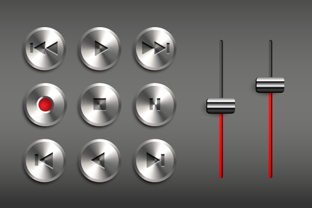 Vector set of metal buttons. Retro technic interface