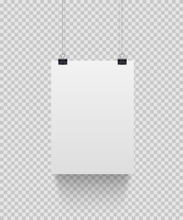 White paper sheet hanging on paper clips isolated on transparent background. Vector design element Çizim