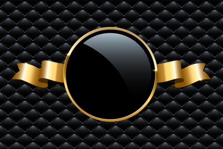 Bague dorée et ruban sur fond VIP noir. Modèle de conception de luxe de vecteur