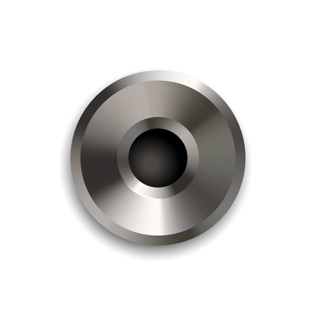 Shiny metal rivet isolated on white background. Vector design element