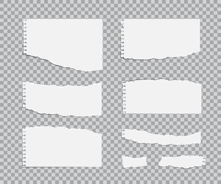 Blanc torn paper sheets set. Vector realistic design elements
