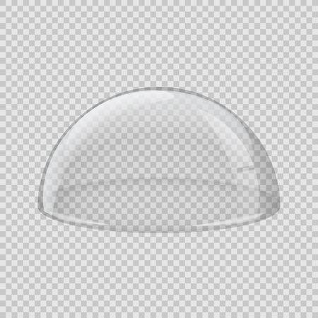 Copertura in vetro trasparente. Emisfero vettoriale isolato su sfondo trasparente