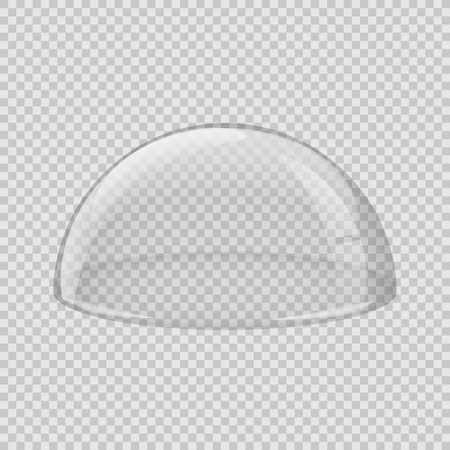 Transparent glass cover. Vector hemisphere isolated on transparent background