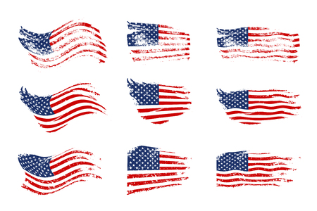 Vintage waving USA flag set. Vector waving American flags on grunge texture. Banco de Imagens