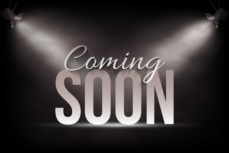 Aankondiging sjabloon voor spandoek. Vector binnenkort tekst op fase achtergrond onder spotlichten