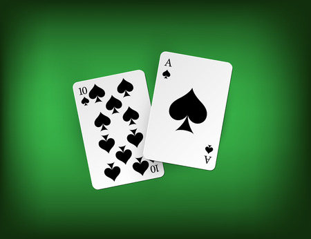 Twenty one points blackjack combination on green casino background. Vector gambling illustration.