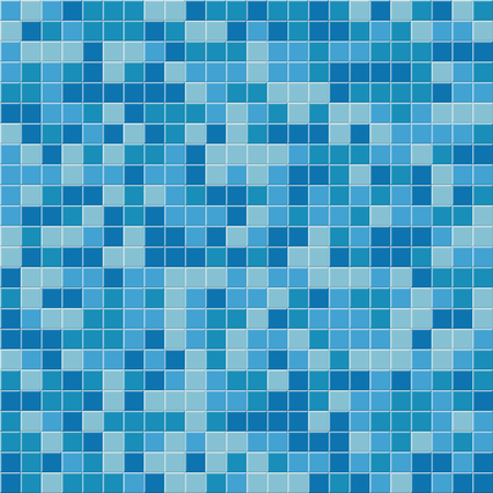 Pool tile seamless pattern. Vector blue mosaic tiles background