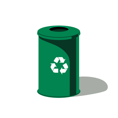 Green garbage can isolated on white background. Vector design element.