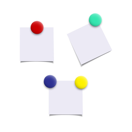 Paper sheets with color magnets. Vector realistic isolated design elements