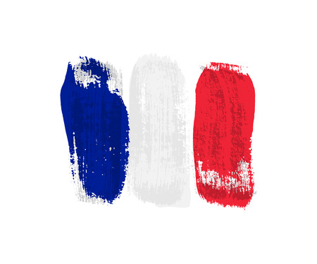 French flag made of brush strokes. Vector grunge flag of France isolated on white background.