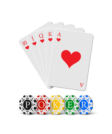 Vector royal flush of hearts and casino chips with Poker word. Gambling elements isolated on white background