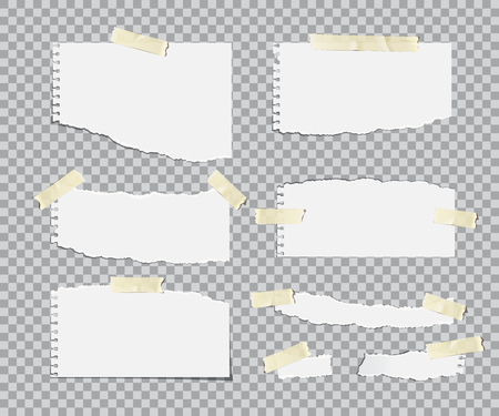 Blanc torn paper sheets with adhesive tapes set. Vector realistic design elements