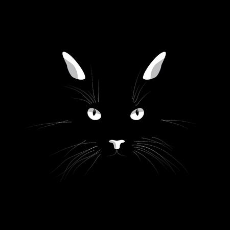 Los gatos se enfrentan en la oscuridad. Vector ojos de gatos, orejas, nariz y bigotes aislados sobre fondo negro.