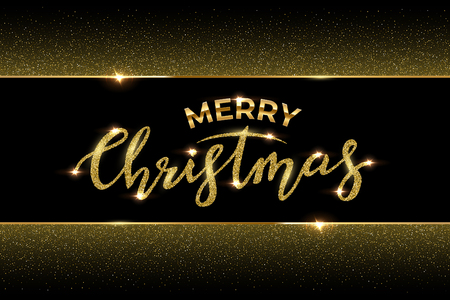 Christmas luxury design template. Vector Merry Christmas text made of golden glitter and golden frame with glitter isolated on black background