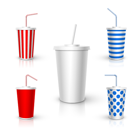 Plastic Cup with tube mockup. Vector realistic design elements.