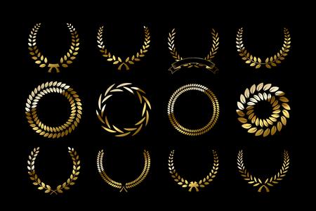 Set of golden laurel wreaths isolated on black background. Vector design elements. Illustration