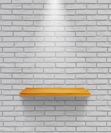 Étagère en bois vide de vecteur isolée sur fond de mur de briques grises.