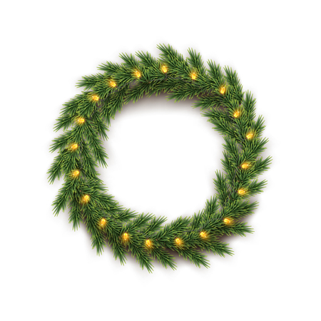 Fir wreath with yellow bulb garland isolated on white background. Vector design element