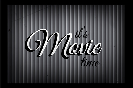 Its movie time banner template in silent film style. Vector movie sign on monochromatic curtain background.