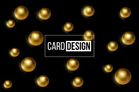 Card design template. Vector shiny golden balls on black background. Illustration