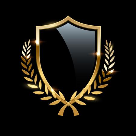 Zwart glazen schild met gouden frame en gouden lauwerkrans geïsoleerd op zwarte achtergrond. Vector ontwerpelement. Vector Illustratie
