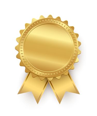 Vector goldenes Siegel mit den Bändern lokalisiert auf weißem Hintergrund.